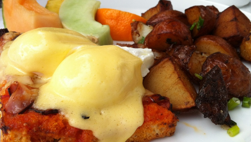 Croque Monsieur eggs benedict from Provence Marinaside with hashbrowns and fruit