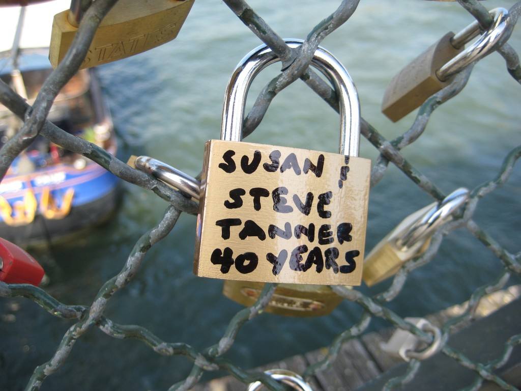 "A Love Padlock in Paris, France that has ""Susan and Steve Tanner 40 years"" written on it in black sharpie"