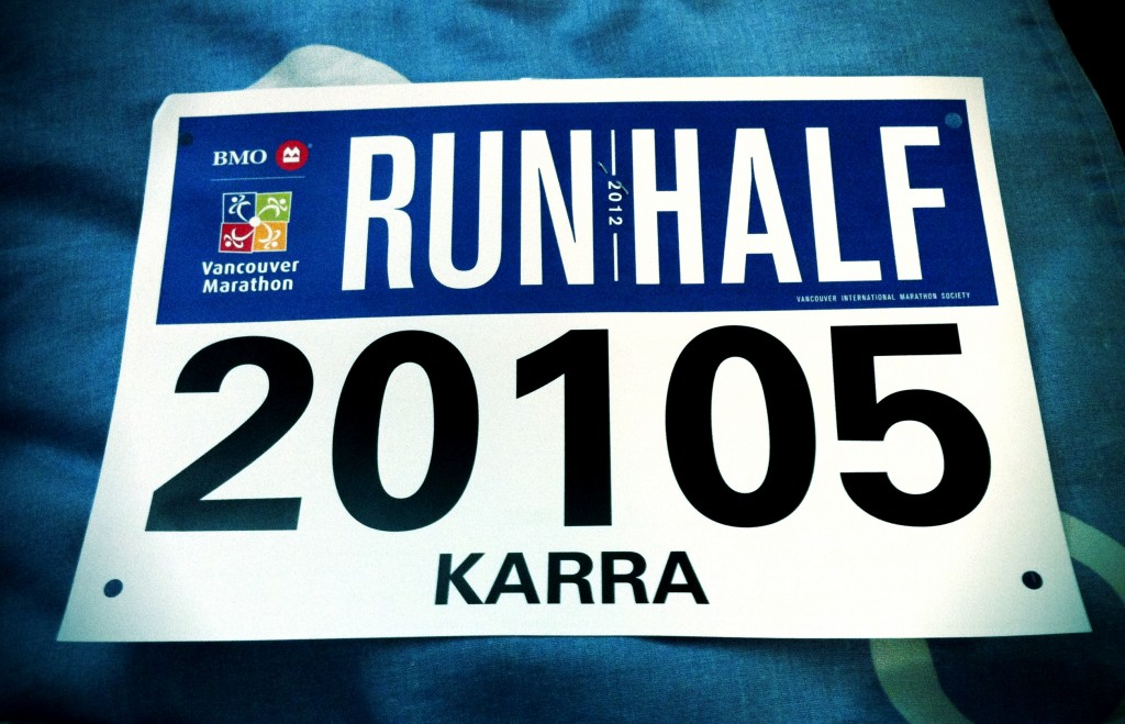 Karra Barron's bib for the BMO Vancouver Half Marathon