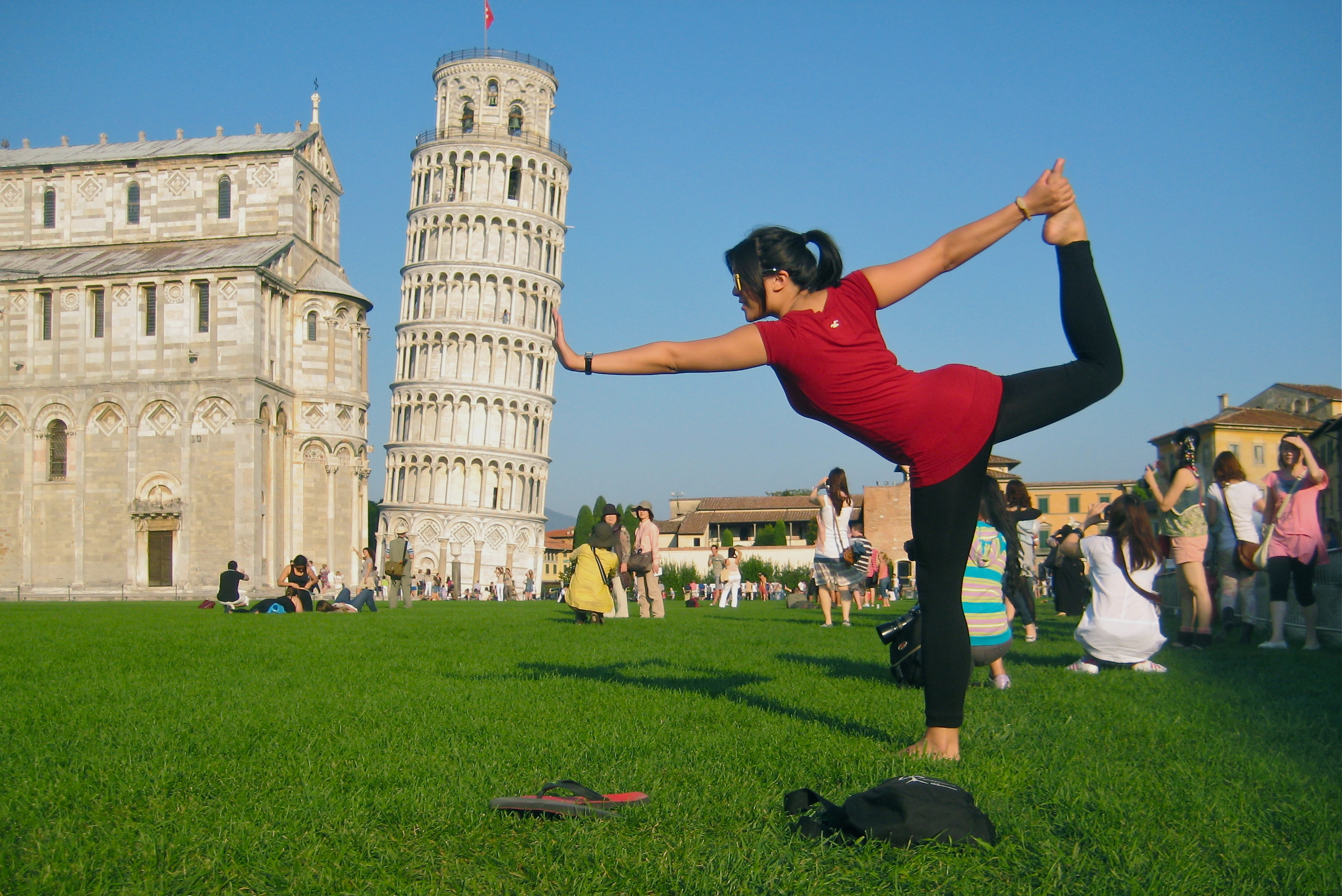 Karra Barron posing at the Leaning Tower of Pisa in Pisa, Italy
