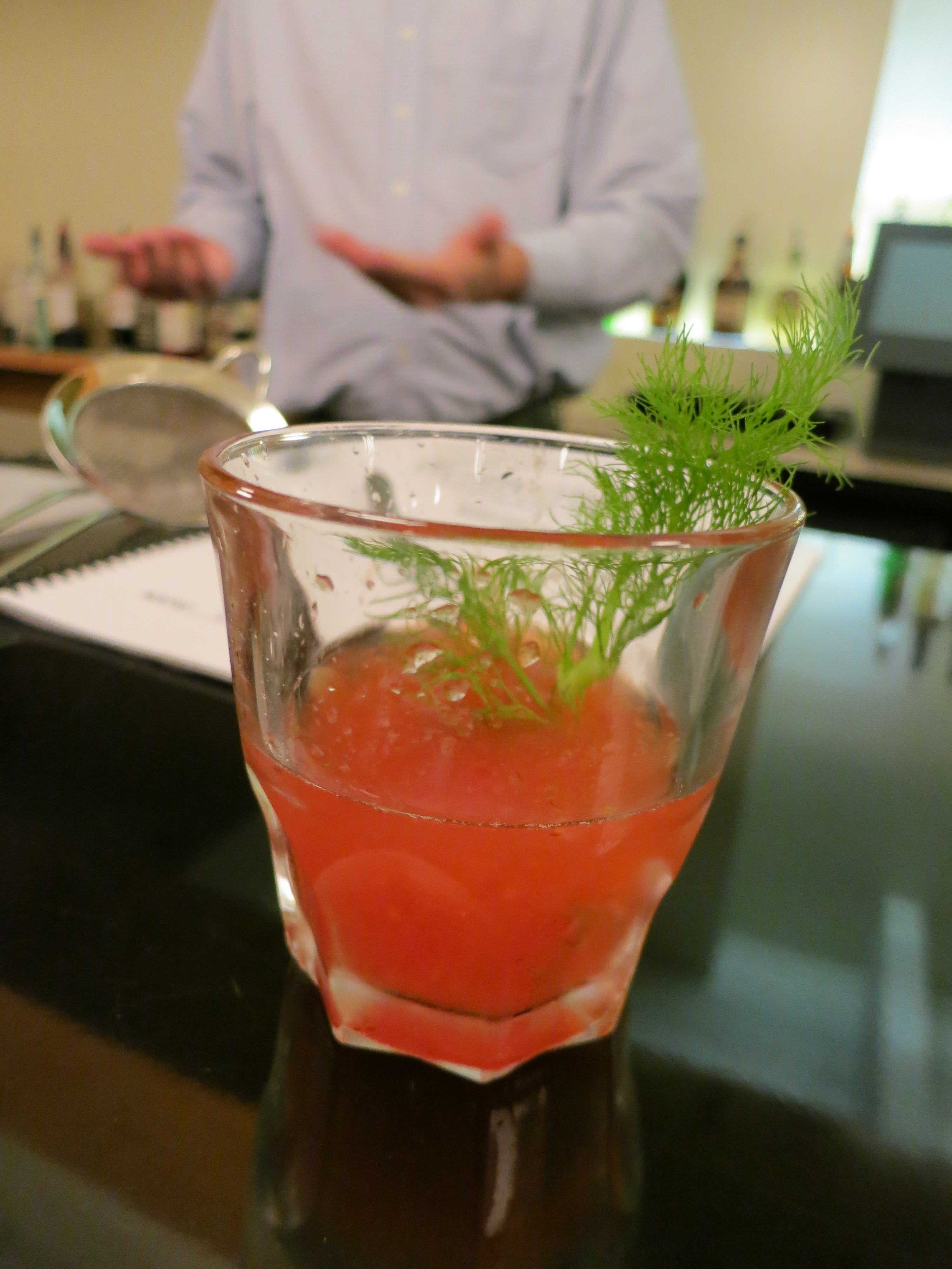 Karra's Fennel Mix cocktail made at a class she took in the Metropolitan Bartending School in Vancouver, BC