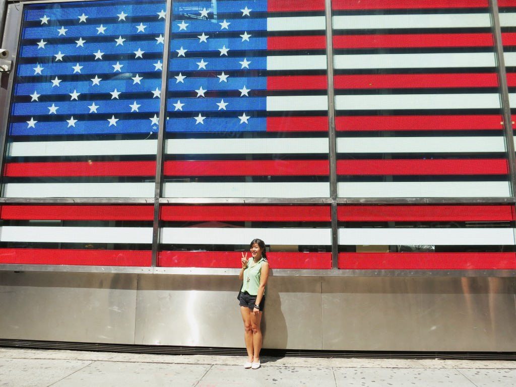 US Flag in Times Square, NYC