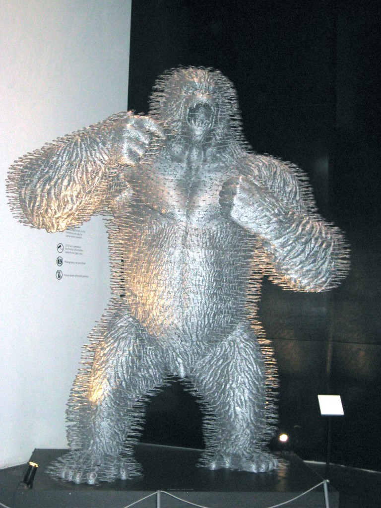Angry needle gorilla at the Victoria and Albert Museum in London, England