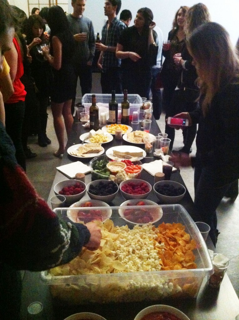 Food table at the 1+1+1 Penthouse Social