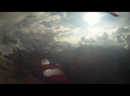 View of the Swiss Alps outside the helicopter