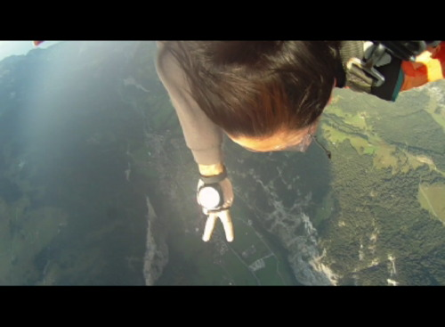 Karra Barron skydiving over the Swiss Alps