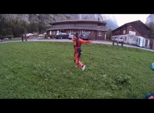 Karra Barron after skydiving out of a helicopter over the Swiss Alps!