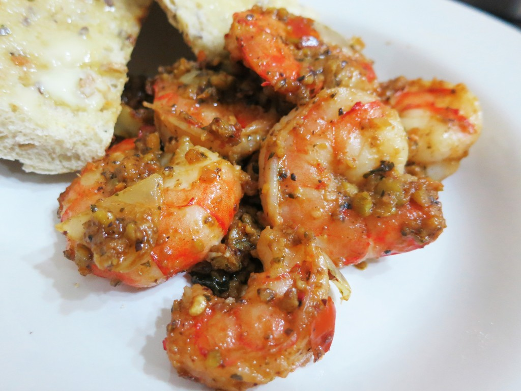 Close up of minty pistachio pesto prawns